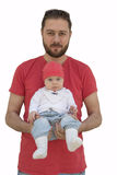 Young beard father and his baby girl isolated on white Royalty Free Stock Photos