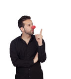 Young businessman with clown nose Stock Photography