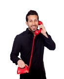 Young bearded businessman at phone Royalty Free Stock Photography