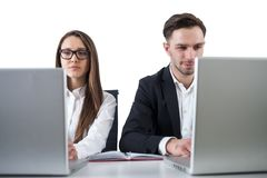 Business couple working, white background Royalty Free Stock Photos