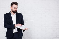 Young bearded businessman using laptop over white brick wall royalty free stock images