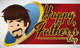 Young Bearded Dad Face for Father`s Day Celebration, Vector Illustration Stock Photography