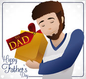 Young Bearded Dad Holding his Special Gift for Father`s Day, Vector Illustration. Poster with young bearded dad holding his special gift to celebrate Father`s royalty free illustration