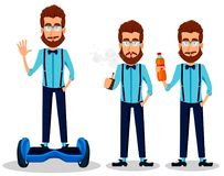 Young bearded hipster man in glasses stock illustration