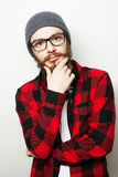 Young bearded hipster man royalty free stock photos