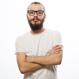 Young bearded hipster man Royalty Free Stock Image
