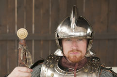 Young bearded Knight. In shining armor Stock Images
