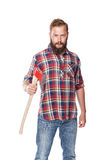Young bearded lumberjack posing with ax stock image