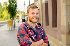 Young bearded man in checkered shirt Royalty Free Stock Photography