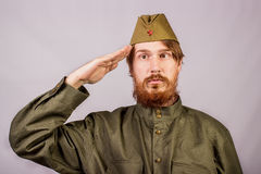 Young bearded man dressed in historical soviet  uniform Stock Images