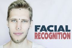 Young bearded man facial and eye recognition concept isolated background stock photography