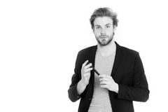 Young bearded man with formal jacket using mobile phone device Royalty Free Stock Photo