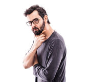 Young bearded man with glasses. Portrait of a young bearded man with glasses Royalty Free Stock Photography