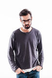Young bearded man with glasses. Portrait of a young bearded man with glasses Stock Photo