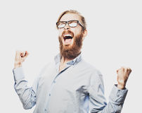 Young bearded man with good idea sign. Royalty Free Stock Photo