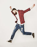 Young bearded man jumping Stock Photography