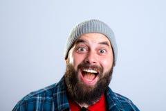 Young bearded man lokking amazed Stock Image