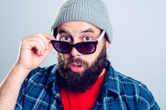 Young bearded man lokking amazed Stock Photos