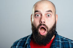 Young bearded man lokking amazed Royalty Free Stock Photo