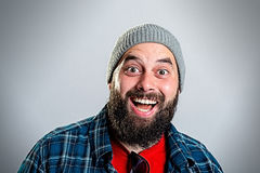 Young bearded man lokking amazed Royalty Free Stock Photos