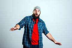 Young bearded man lokking amazed Royalty Free Stock Image