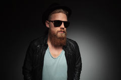 Young bearded man looking away Stock Image