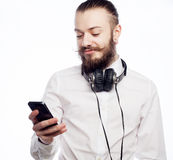 Young bearded man with mobile Stock Image