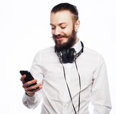 Young bearded man with mobile Stock Photography