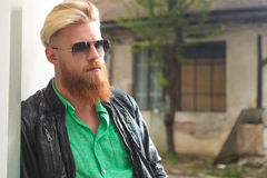 Young bearded man posing outdoor Stock Photos