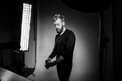 Young bearded man posing at studio royalty free stock image