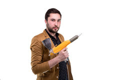 Young bearded man with powder spray Stock Images