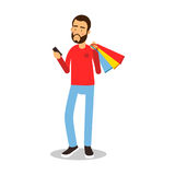 Young bearded man in red pullover standing with shopping bags and holding mobile phone cartoon character vector Stock Image