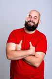 Young bearded man in red shirt Stock Image