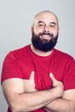 Young bearded man in red shirt Stock Photography
