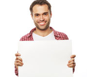 Young bearded man showing blank signboard Stock Photography