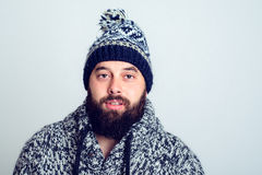 Young bearded man in winter dress Royalty Free Stock Photography