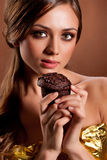 Young Beauriful Woman With Chocolate Cake Royalty Free Stock Photos