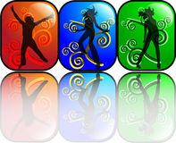 Young and beautiful. Silhouettes of 3 beautiful, active women dancers Royalty Free Illustration
