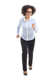 Young beautiful african american business woman running isolated Stock Images