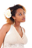 Young beautiful african american woman looking up Stock Photos