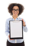 Young beautiful african american woman showing clipboard with co Stock Images