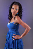 Young beautiful african woman in blue dress Stock Photos