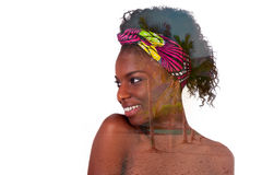 Young beautiful african woman double exposure portrait, Isolated Stock Images