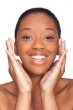 Young beautiful african woman, Isolated over white background stock images