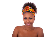 Young beautiful african woman, Isolated over white background Stock Photos