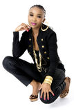 Young Beautiful African Woman Wearing a Black Jacket Royalty Free Stock Images