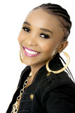 Young Beautiful African Woman Wearing a Black Jacket Royalty Free Stock Photos