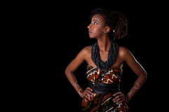 Young beautiful african woman wearing  traditional clothes and j Stock Image