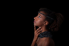 Young beautiful african woman wearing  traditional jewelry, Isol Royalty Free Stock Photo