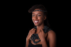 Young beautiful african woman wearing  traditional jewelry, Isol Royalty Free Stock Image